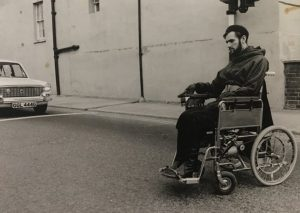 David Hoggett using his electric wheelchair around Cheltenham