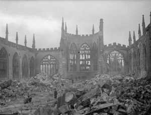 Coventry Cathedral in ruins after WWII air raids