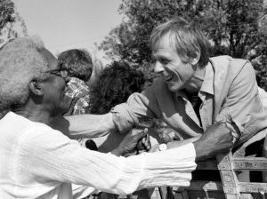 Michael Randle greeting Bayard Rustin at the War Resisters International Triennial in India in 1985. Copyright Michael Randle.