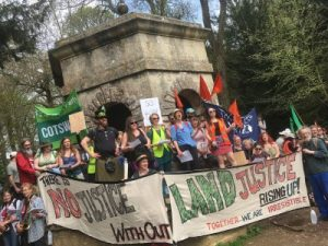 RisingUp mass trespass April 2018 with the Land Justice Network. Source: RisingUp