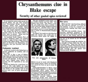 'Chrysanthemums clue in Blake escape. 22nd October 1966 - George Blake escapes from Wormwood Scrubs' Source: https://www.flickr.com/photos/bradford_timeline/10417916825/in/album-72157636786932384/
