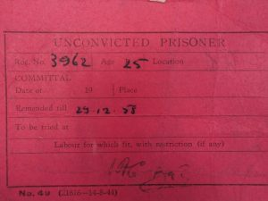 Michael's prison card, issued after he was remanded in custody for taking part in a Direct Action Committee demonstration at the RAF base at North Pickenham, near Swaffham, in December 1958. From the papers of Michael Randle [https://www.bradford.ac.uk/library/special-collections/collections/papers-of-michael-randle/].