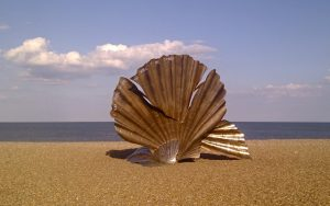 Scallop, by Maggi Hambling, on Aldeburgh beach. 'I hear those voices that will not be drowned.' Image ©Mark Goldthorpe 2014