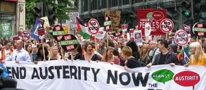 End austerity now - protest. Source [https://en.wikipedia.org/wiki/People%27s_Assembly_Against_Austerity]
