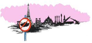 Stop Fuelling War - Paris cartoon